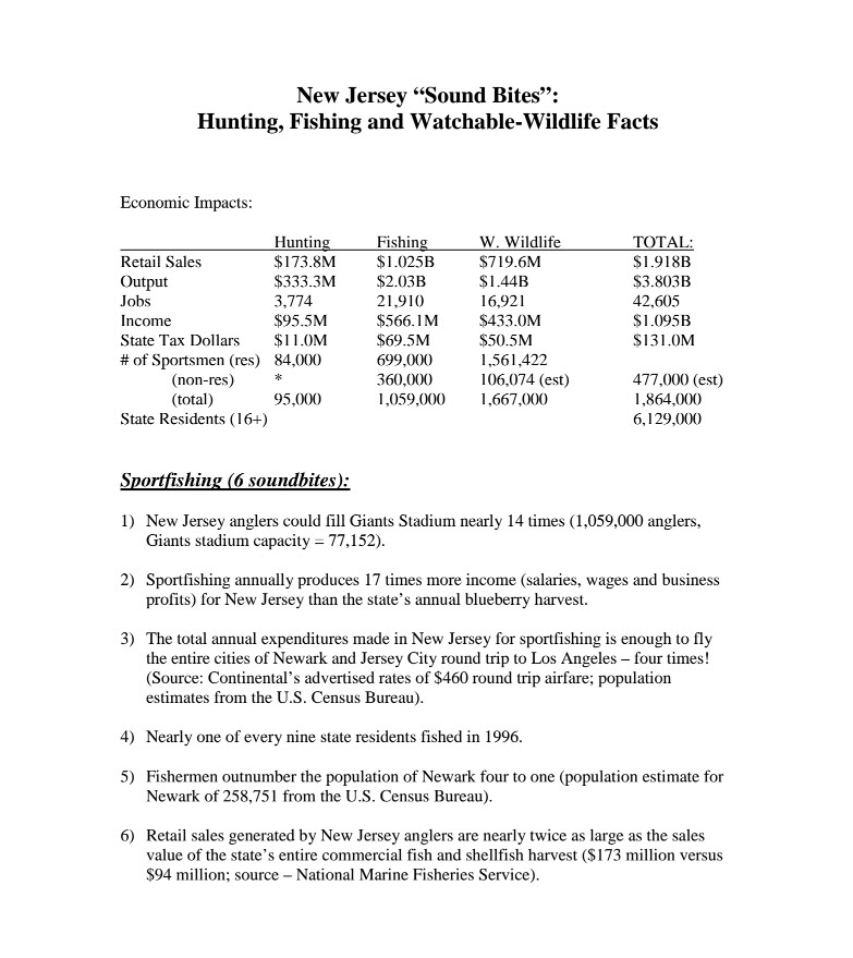 Hunting & Fishing Economics of New Jersey 2011