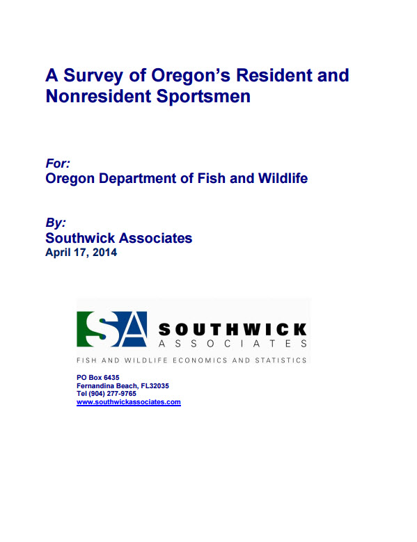 A Survey of Oregon's Resident & Nonresident Sportsmen 2013