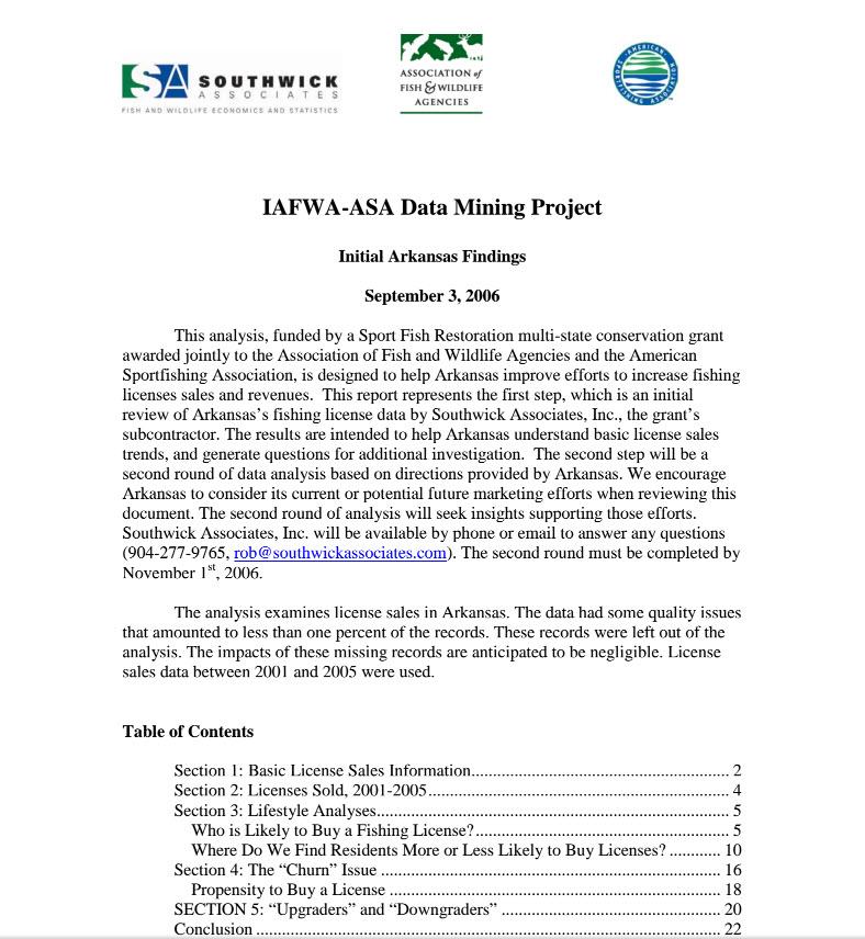 Arkansas Fishing License report