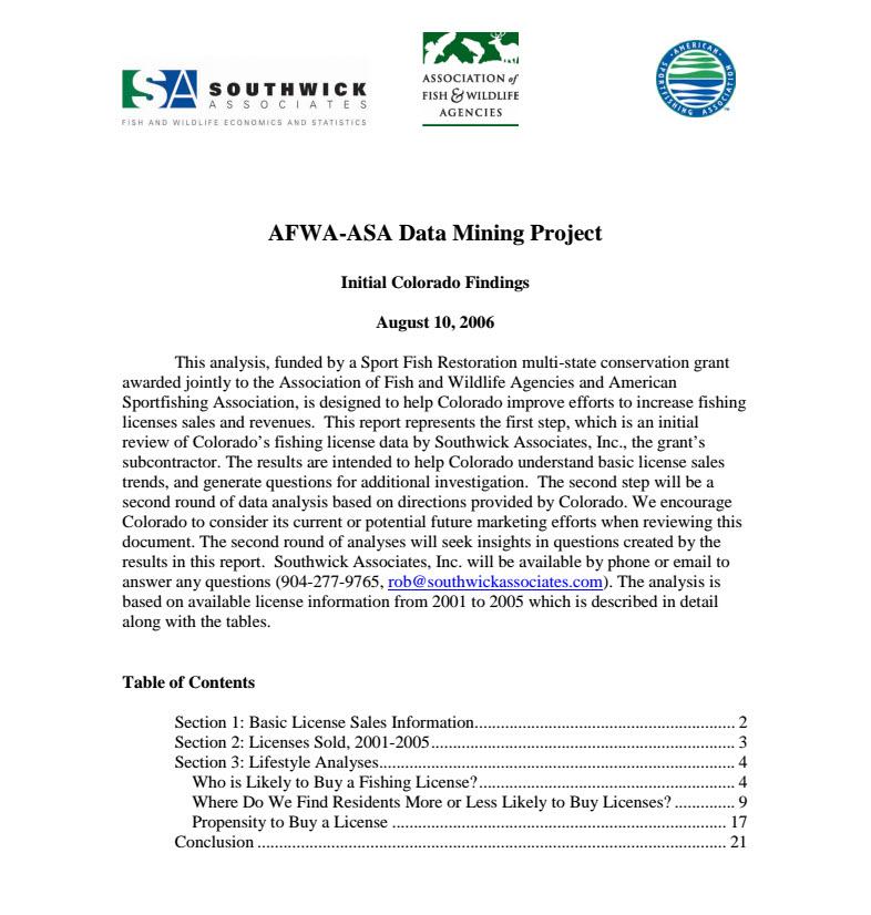 Colorado Fishing License report