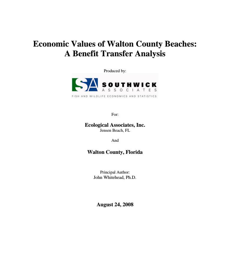 Florida – Economic Values of Walton County Beaches