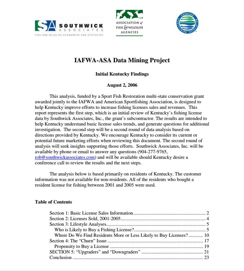 Kentucky Fishing License report