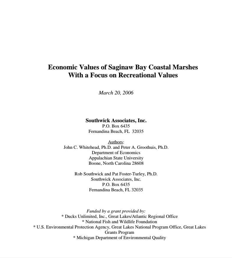 Michigan Saginaw Bay Wetlands Economics