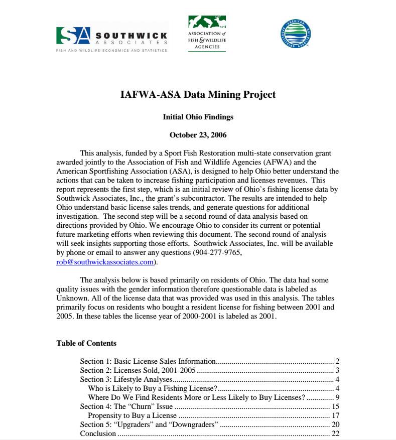 Ohio Fishing License report