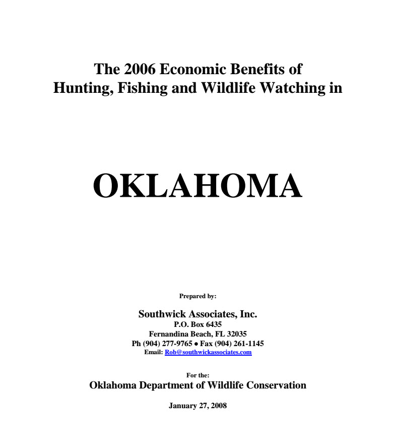 Economic Contributions of Fishing, Hunting & Wildlife Watching in Oklahoma