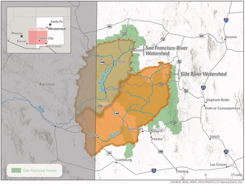 Map showing the boundaries of the Gila and San Francisco River Watersheds