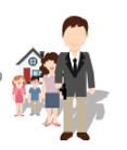"""Avatar of a man standing in front of his family, representing the """"Family Guardian"""" consumer segment"""